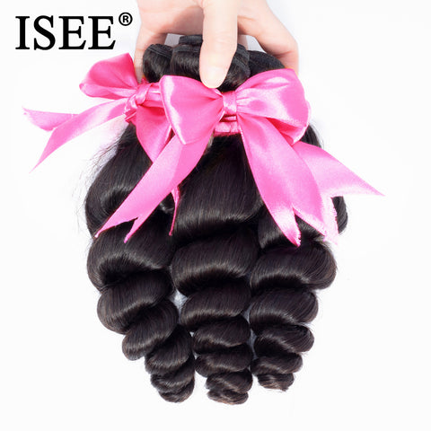 ISEE HAIR Brazilian Loose Wave Hair Extension 3 Bundles Human Hair Bundles 100% Remy Hair Weave Bundles Nature Color