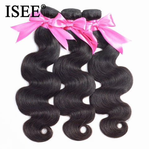 ISEE HAIR Body Wave Bundles 100% Remy Human Hair Extensions Natural Color 3/4 Bundles Hair Weaves Brazilian Hair Weave Bundles
