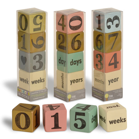 baby age blocks - set of 4 (three color options) - Tree by Kerri Lee