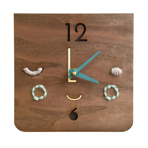 face clock - turquoise - Tree by Kerri Lee