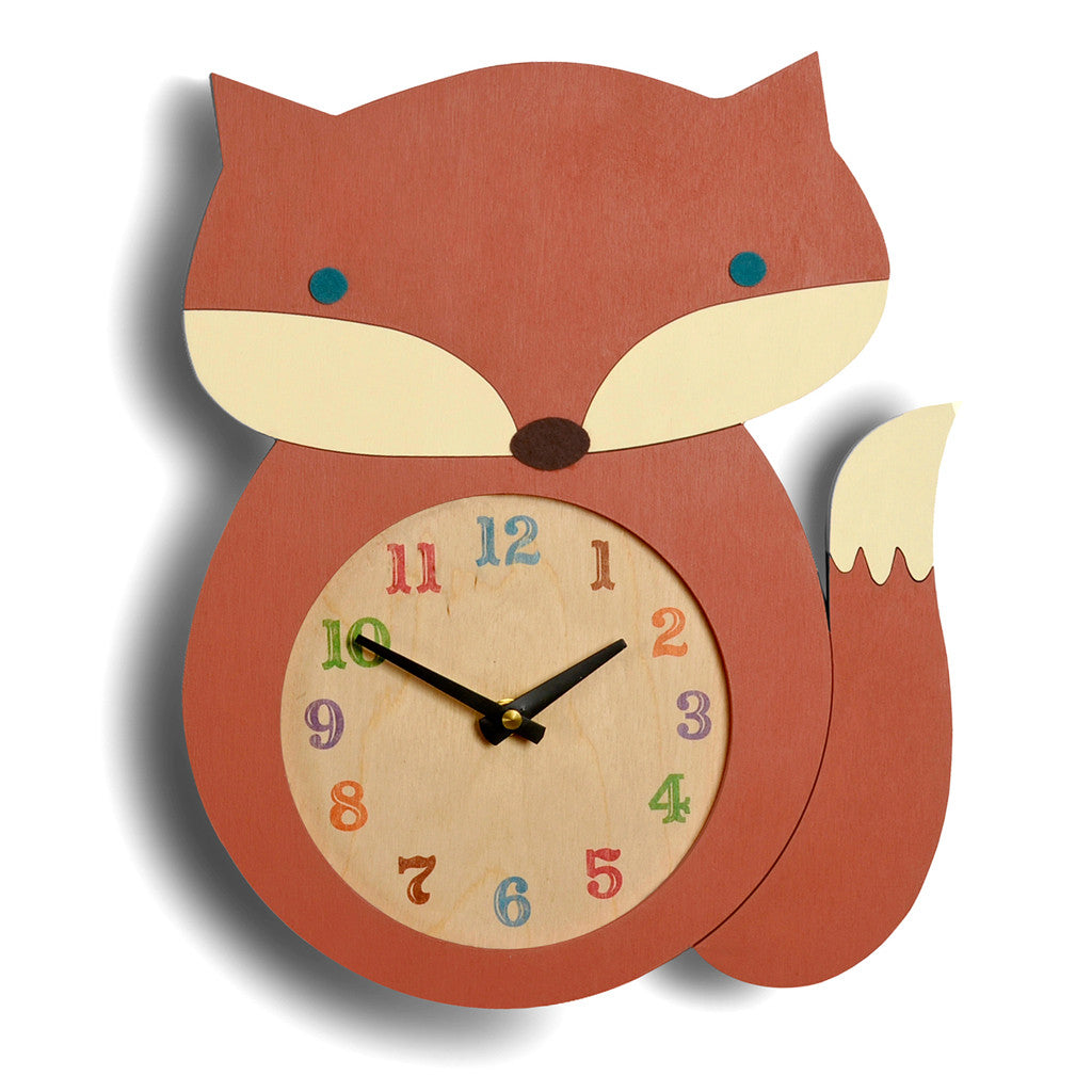 orange wooden modern fox clock, handmade in USA