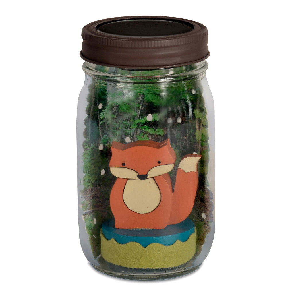 fox mason jar solar light