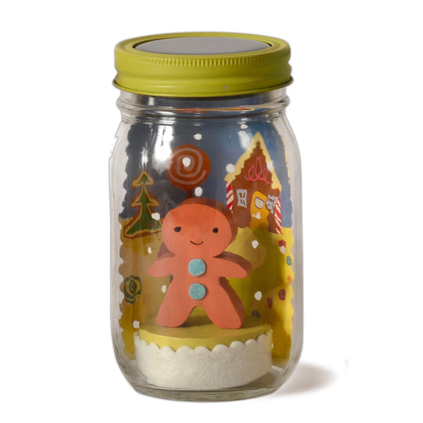 gingerbread mason jar solar light