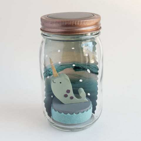 narwhal mason jar solar light