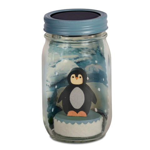 penguin mason jar solar light