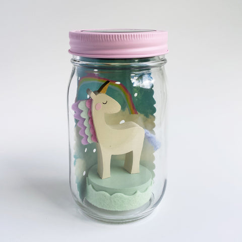 unicorn mason jar solar light