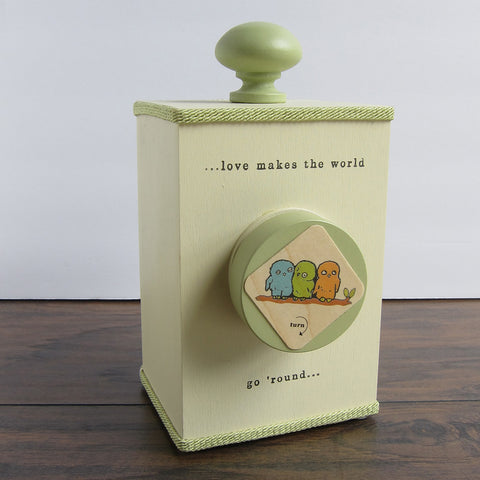 'love makes the world go round' wind-up music box (3 styles)