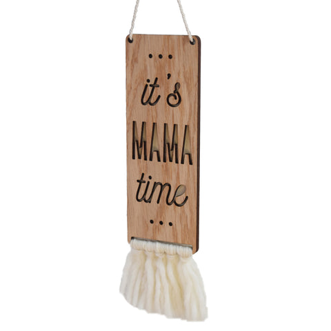 wood & wool door sign - mama time - Tree by Kerri Lee