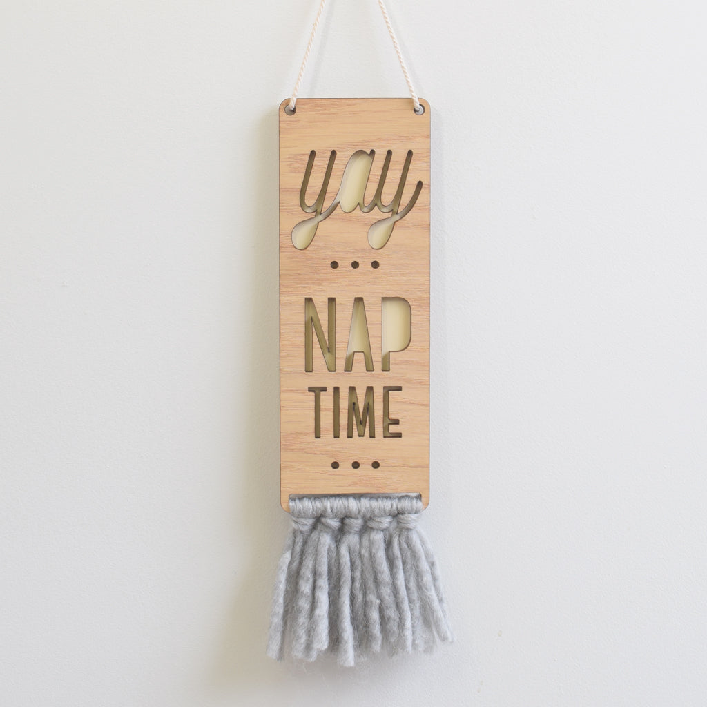 wood & wool door sign - nap time - Tree by Kerri Lee