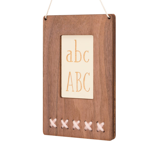 walnut ABC wall art