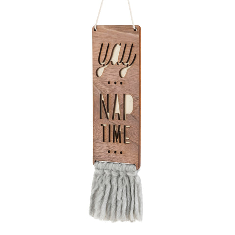 walnut & wool door sign - nap time (2 colors)