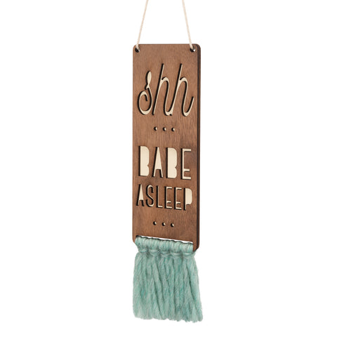 walnut & wool door sign - babe asleep (2 colors)