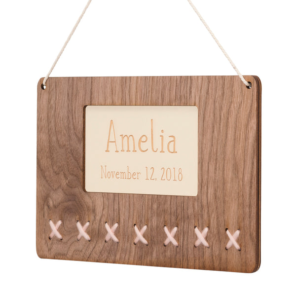 personalized walnut & wool name art