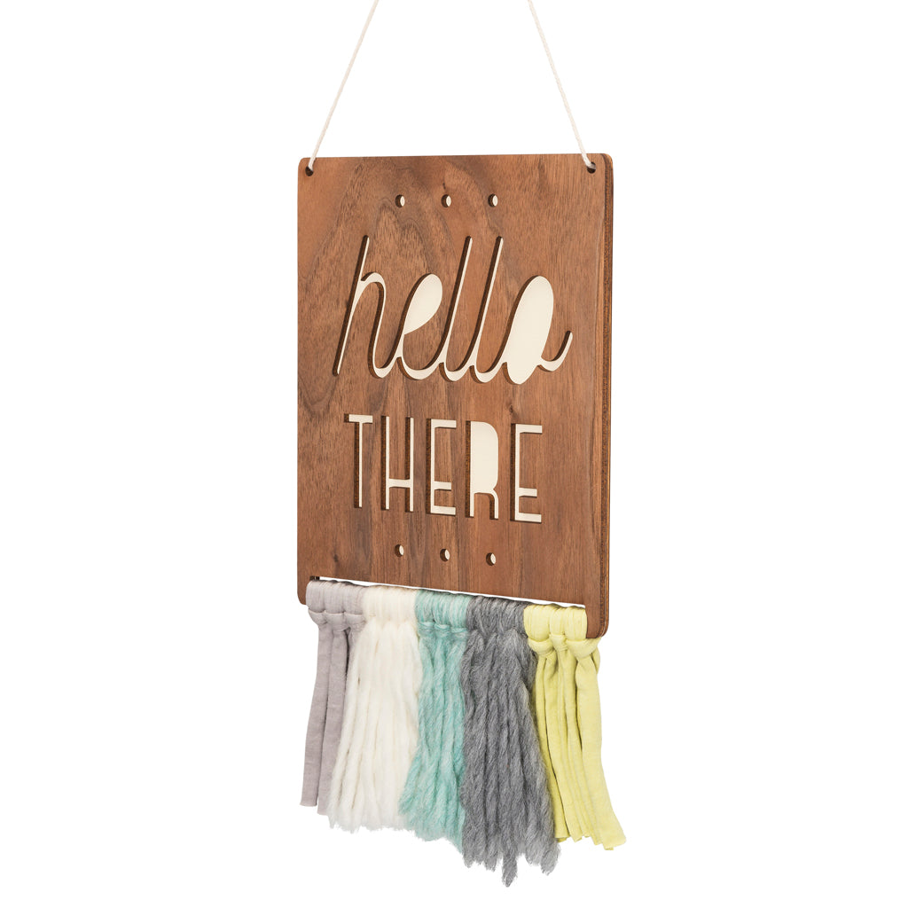 walnut & wool wall hanging - hello there