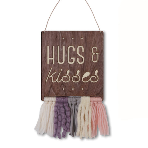 walnut & wool wall hanging - hugs & kisses