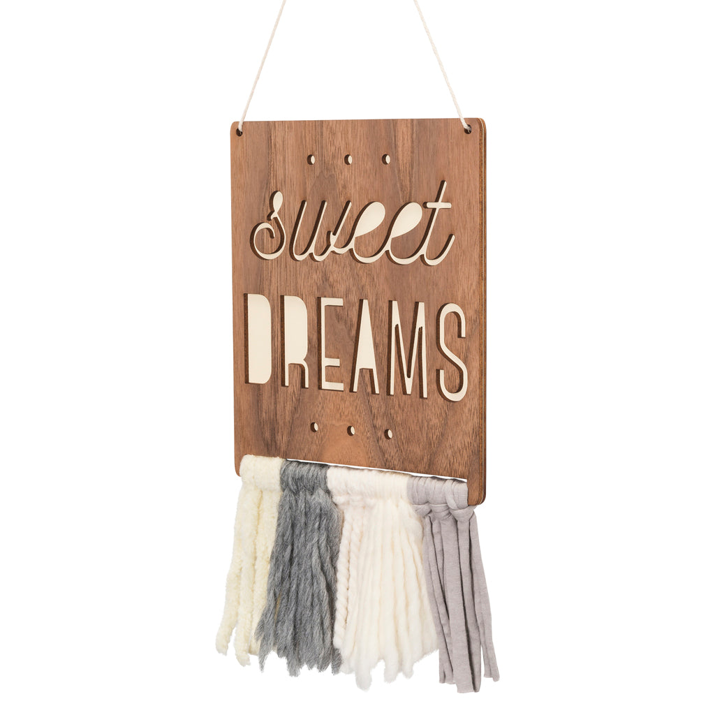 wood & fringe wall hanging - sweet dreams - Tree by Kerri Lee