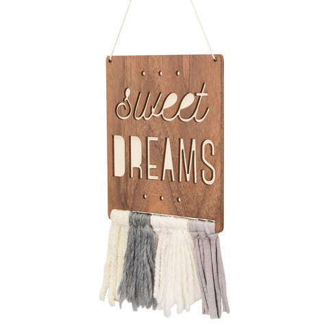 walnut & wool wall hanging - sweet dreams