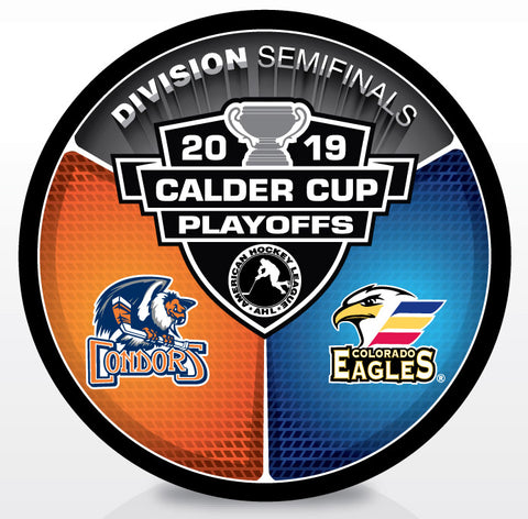 Bakersfield Condors vs Colorado Eagles 2019 Calder Cup Playoffs Dueling Souvenir Puck