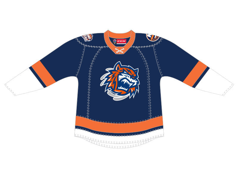 CCM Quicklite Bridgeport Sound Tigers Customized Premier Blue Jersey