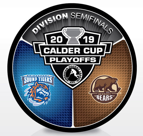 Bridgeport Sound Tigers vs Hershey Bears 2019 Calder Cup Playoffs Dueling Souvenir Puck