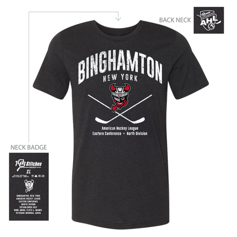 108 Stitches Binghamton Devils Adult Classic Cross Sticks T-Shirt