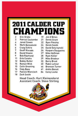 Binghamton Senators 2011 Calder Cup Champions Banner with roster