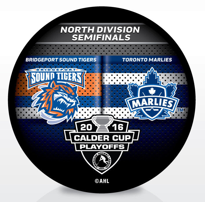 Bridgeport Sound Tigers vs. Toronto Marlies 2016 Calder Cup Playoffs Dueling Souvenir Puck