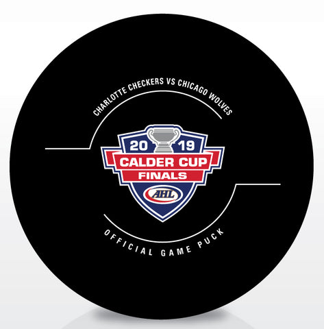 Chicago Wolves vs. Charlotte Checkers 2019 Calder Cup Finals Official Game Puck