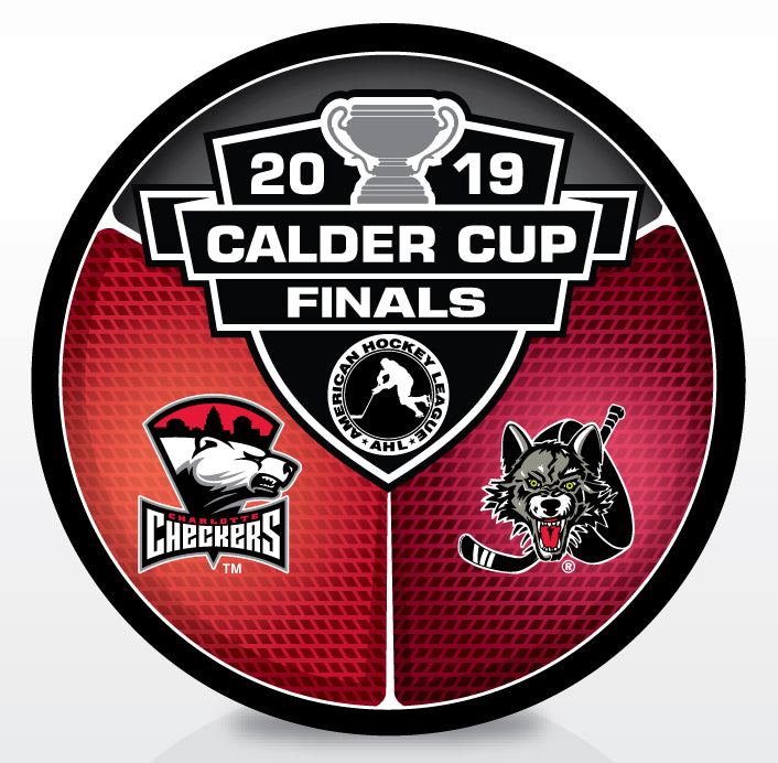 Charlotte Checkers vs. Chicago Wolves 2019 Calder Cup Finals Dueling Souvenir Puck
