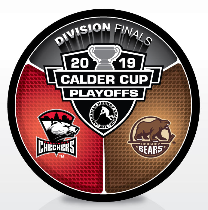 Charlotte Checkers vs Hershey Bears 2019 Calder Cup Playoffs Dueling Souvenir Puck