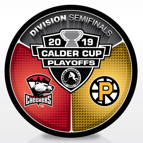 Charlotte Checkers vs Providence Bruins 2019 Calder Cup Playoffs Dueling Souvenir Puck