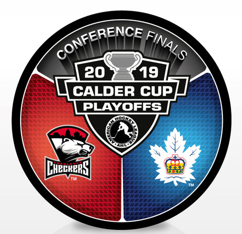 Charlotte Checkers vs Toronto Marlies 2019 Calder Cup Playoffs Dueling Souvenir Puck