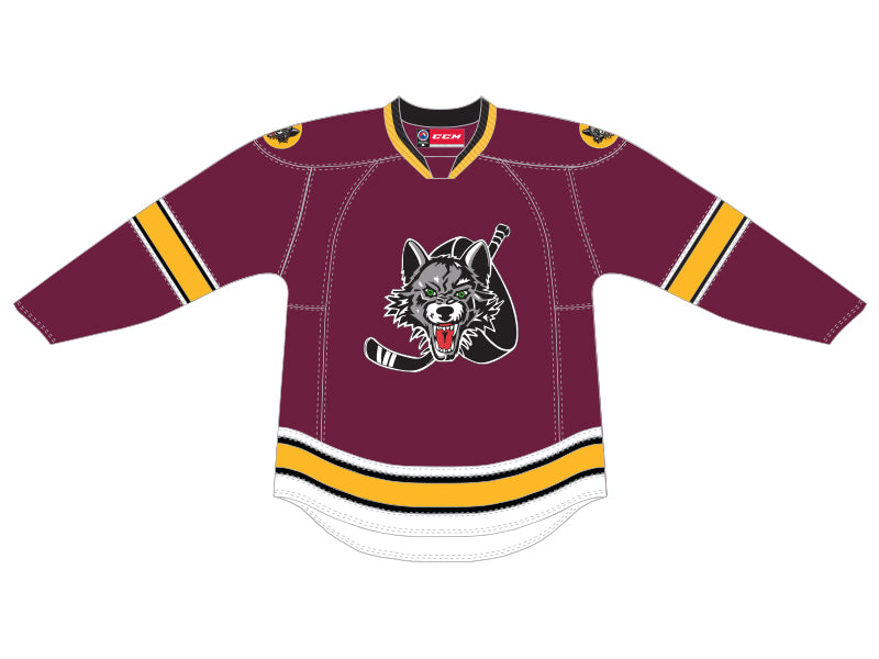 CCM Quicklite Chicago Wolves Customized Premier Maroon Jersey 26467180341