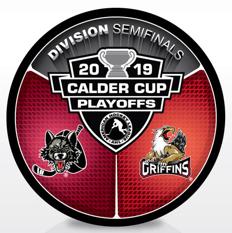 Chicago Wolves vs Grand Rapids Griffins 2019 Calder Cup Playoffs Dueling Souvenir Puck
