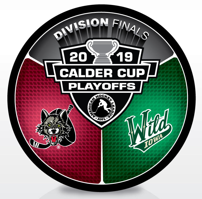 Chicago Wolves vs Iowa Wild 2019 Calder Cup Playoffs Dueling Souvenir Puck