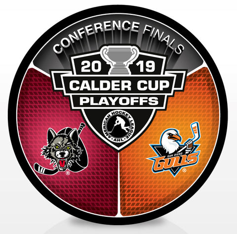 Chicago Wolves vs San Diego Gulls 2019 Calder Cup Playoffs Dueling Souvenir Puck