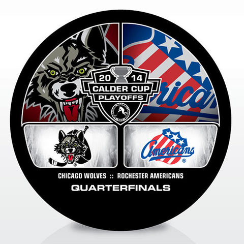 Chicago Wolves vs. Rochester Americans 2014 Calder Cup Playoffs Dueling Souvenir Puck
