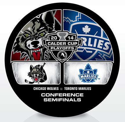 Chicago Wolves vs. Toronto Marlies 2014 Calder Cup Playoffs Dueling Souvenir Puck