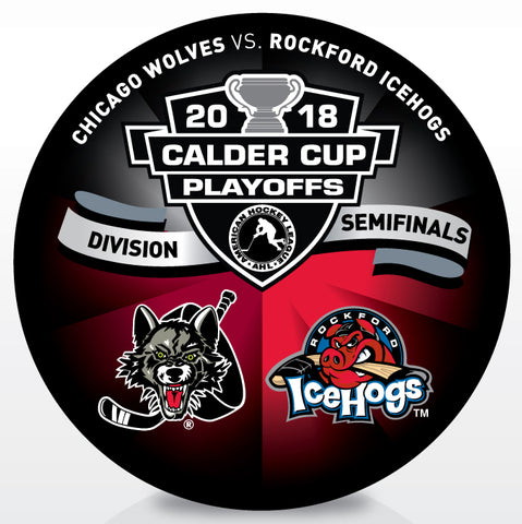Chicago Wolves vs Rockford IceHogs 2018 Calder Cup Playoffs Dueling Souvenir Puck