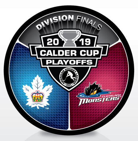 Toronto Marlies vs Cleveland Monsters 2019 Calder Cup Playoffs Dueling Souvenir Puck