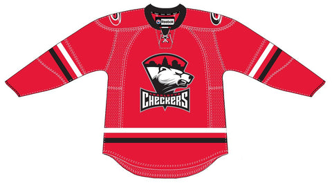 Reebok Charlotte Checkers Customized Premier Red Jersey (Clearance)