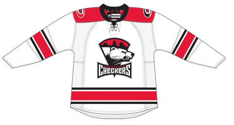 Reebok Charlotte Checkers Customized Premier White Jersey (Clearance)