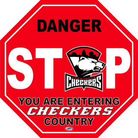Charlotte Checkers Fan Stop Sign