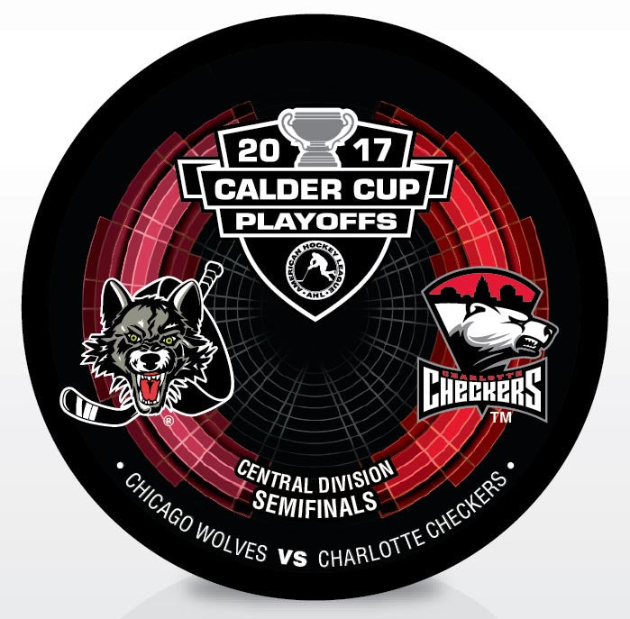 Chicago Wolves vs. Charlotte Checkers 2017 Calder Cup Playoffs Dueling Souvenir Puck