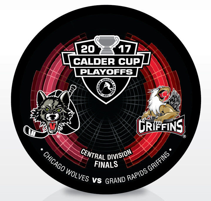 Chicago Wolves vs. Grand Rapids Griffins 2017 Calder Cup Playoffs Dueling Souvenir Puck