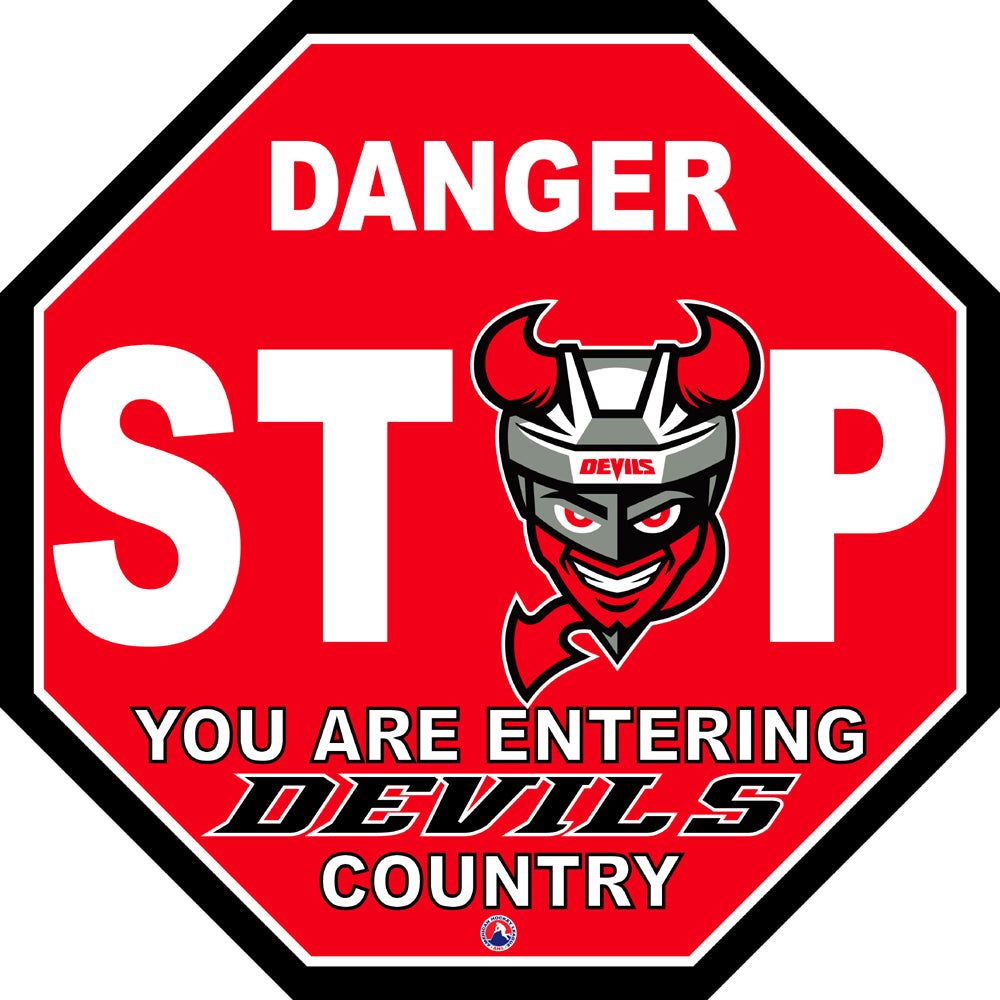 Binghamton Devils Fan Stop Sign