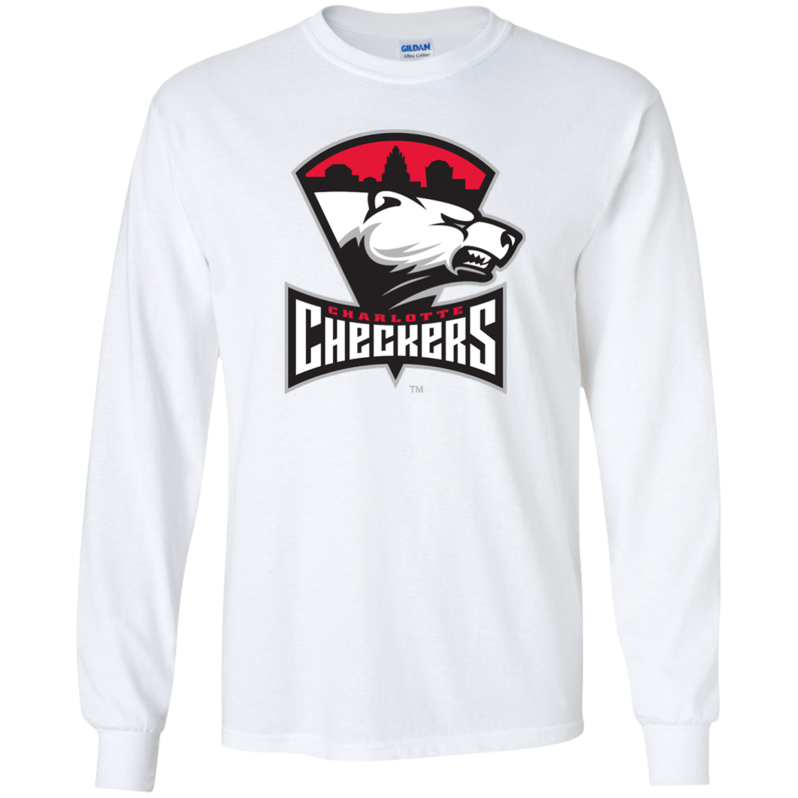Charlotte Checkers Primary Logo Adult Long Sleeve T Shirt
