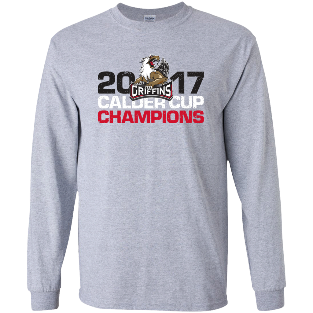 Grand Rapids Griffins 2017 Calder Cup Champions Youth Distressed Long Sleeve T-Shirt