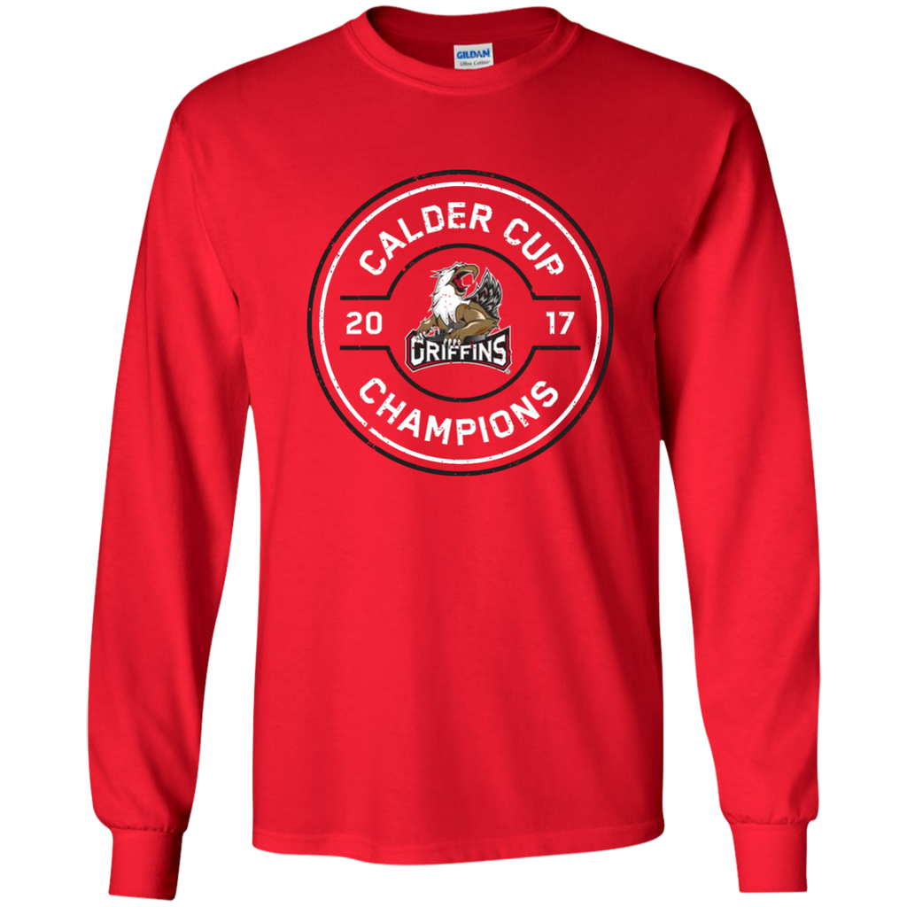 Grand Rapids Griffins 2017 Calder Cup Champions Youth Faceoff Long Sleeve T-Shirt (red)