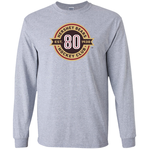 Hershey Bears 80th Anniversary Long Sleeve Cotton T-Shirt